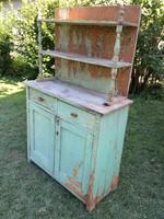Régi népi fenyő polcos konyhaszekrény tálaló szekrény