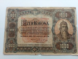 Ritkább 1920-as 1000 korona (B 01 - es sorozat)