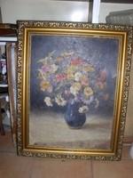 Régi virágcsendélet olajfestmény, az aláírás riosszul ,olvasható, méret: 67 x 52 cm