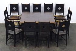 0N580 Antik barokk étkezőgarnitúra asztal+11 szék