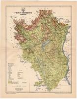 Fejér vármegye térkép 1896, antik, eredeti, megye, Magyarország, Székesfehérvár