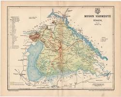 Moson vármegye térkép 1897, antik, eredeti, megye, Magyarország, régi