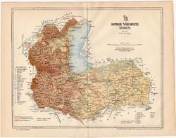 Sopron vármegye térkép 1894, XIX. századi, eredeti, megye, régi, antik, Magyarország