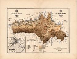Fogaras és Brassó megye térkép 1887, Magyarország, vármegye, régi, atlasz, eredeti, Kogutowicz Manó