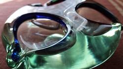 Zöld cseh fújt üveg, art deco hamutál