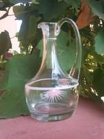 Régi festett kínáló fújt üveg kancsó 19 cm