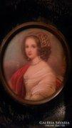 Gyönyörű miniatűr női portré  szép keretben