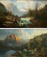 M. Weber,1885 : 2 db Alpesi tájkép / Dachstein az egyik / olaj-vászon,47x73 cm