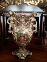 Olasz festett, szobros váza