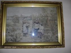 Kézi szövésű francia szignós kárpit keretben üveg alatt