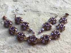 Lila bronz gyöngy ékszer szett - karkötő és fülbevaló
