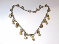Régi Francia ezüst nyakék gyöngyházzal.