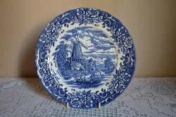 """Kék-Fehér kézzel festett Angol """"SRoyal Tudor ware"""" régmúlt életképet ábrázoló Porcelán Dísztányér"""