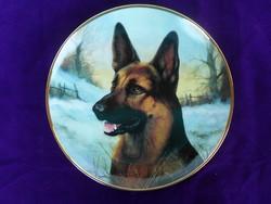 Nagyon szép porcelán dísztányér német juhász portréval.