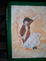 Akt -Lehoczky József papír, tempera, keret nélkül, 30 x 40 cm Tekintse meg a többi festményemet  is!