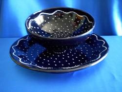 2 db különleges kék Városlődi tálaló tál pecsenyés 33 cm, köretes 9/23 cm