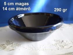 Városlődi fekete majolika, kerámia tál tálka 14 cm