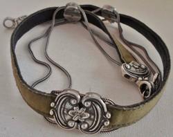 Ritka antik ezüst  nyakpánt ametiszt kövekkel