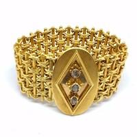 Antik 18K Arany Biedermeier Karkötő Gyémántokkal  c 0.30 ct