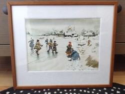 Orosz akvarell festmény üvegezett keretben