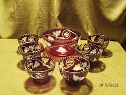 7 részes antik bíbor színű kompótos készlet