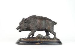 0N686 Régi bronzozott öntöttvas vaddisznó szobor