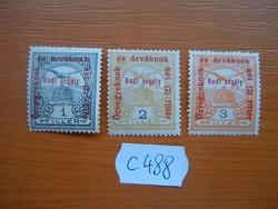 """1+2+3 FILLÉR 3 DB TURUL 1915  """"Hadi segély"""" POSTA-TISZTA C488"""