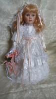 Szép menyasszony porcelánbaba / porcelán baba, 42 cm