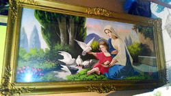 Gyönyörű óriási faragott blondel keret festménnyel 67 * 134 cm