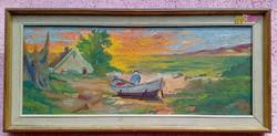 Pirkadat a halász kunyhójánál, keretezett festmény