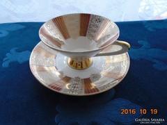 Arany-bordó súlytásos mintás teás csésze aljával-számozott