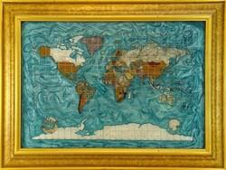 0N761 Különleges üveg világtérkép 60 x 80 cm