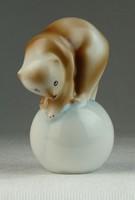 0N656 Hollóházi porcelán cirkuszi medve figura 9cm