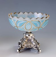 Ezüst antik bécsi kék üveges kínáló angyalkás lábakkal