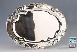 Ezüst nagy méretű szecessziós tálca