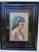 Eduardo Forlenza /1861-1934 / Olasz festő:Fiatal lány portréja