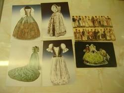 Női díszruha, Tüdős Klára/MEISSNER PORZELLAN. 3 figura. Hat képeslap egyben.