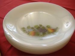 Gyümölcs mintás tejüveg jénai arcopal tányérok Hőálló, mikrózhatók. db-ja 800 Ft.