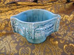 Zsolnay kék kaspó 14x8 cm