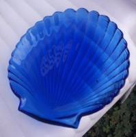 Shell kagyló formájú kínáló tálka, sötétkék üveg, 14 cm
