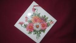 134.  Falra akasztható virág mintás olasz kerámia lap 20x20 cm