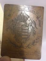 Ultra Ritka !!! Vörösréz magyar címeres metszet az 1700as évek végéről - Dohányárusítási jog