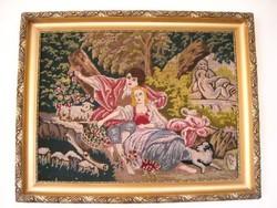 Barokk szerelmespárt ábrázoló gobelin életkép