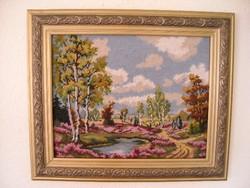 Gobelin tájkép gyönyörű antik keretben