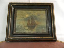 Régi szignozott hajós festmény fatáblára festve.
