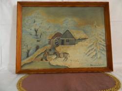 """Kovács Lajos:,,Téli táj vízi malomal.""""festmény."""