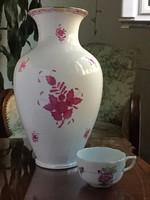 Óriási méretű klasszikus formájú Herendi porcelán Apponyi váza purpur színben