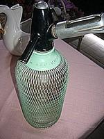 Zöld fém hálós  retro szódás szifon