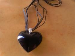 Csodás fekete szív medál cirkonokkal