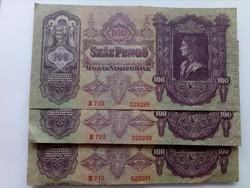 1930-as 3 db 100 pengő sorszám követő EF +